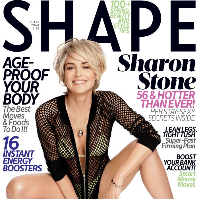 It's not easy to look sexy at 56, but Sharon Stone, who became a sex symbol 22 years ago in Basic Instinct, makes it look as much on the March cover of Shape. Stone is currently juggling motherhood