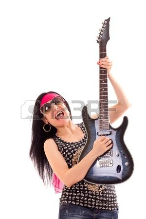Hippie woman with electric guitar isolated on white background. Stock Photo