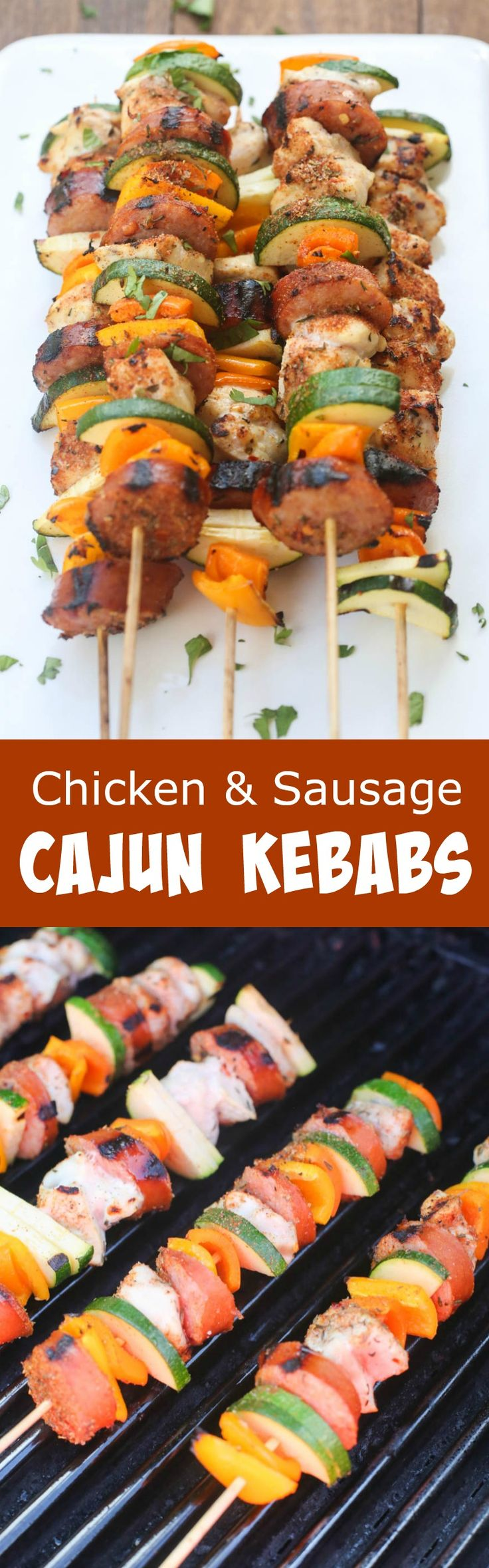 Grilled Cajun Chicken and Sausage Kebabs are packed with bold and spicy cajun flavors. | Tastes Better From Scratch