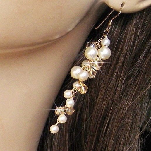 Wedding Jewelry - Long Dangle Golden Champagne Crystal, Ivory Pearl Cascading Earrings - Bridal Pearl Earrings - Long Pearl Cluster Earrings...