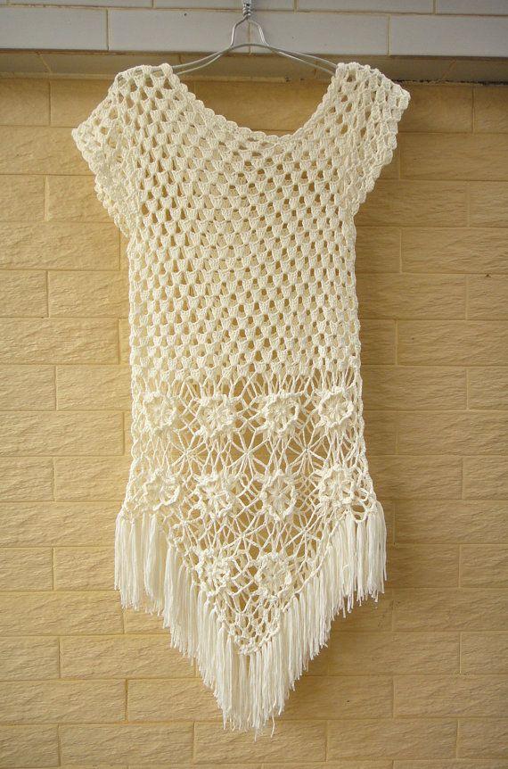 White Fringe Crochet Floral Dress Cap Sleeve