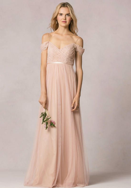 V-Neckline Lace Bodice with a Floor Length Tulle A-Line Skirt | Jenny Yoo Collection | https://www.theknot.com/fashion/leighton-jenny-yoo-collection-maids-bridesmaid-dress