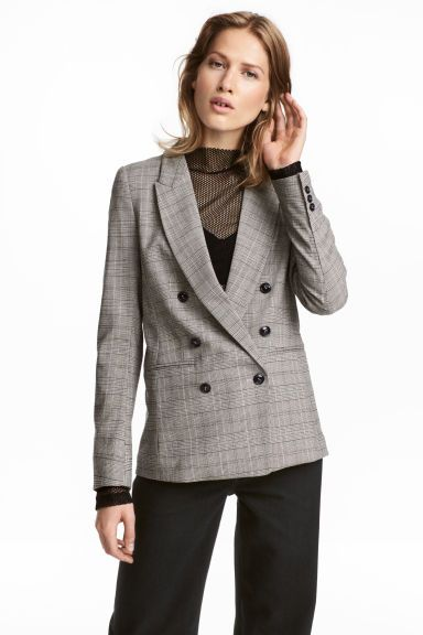 1335196a Double-breasted Jacket - Natural white/black checked - Ladies | H&M CA 1