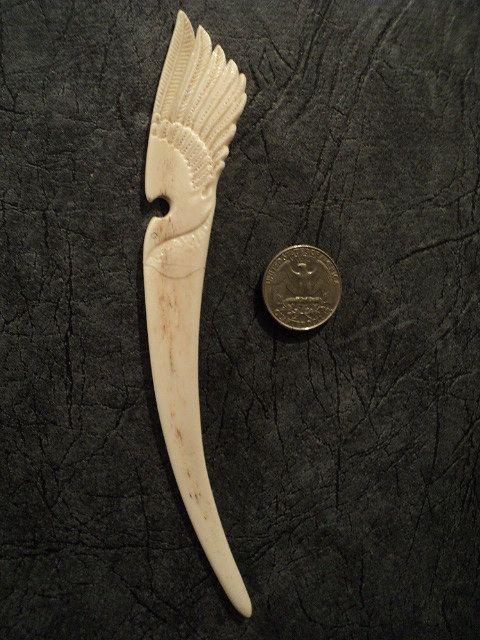 Best carved deer antler hair fork hairpin comb