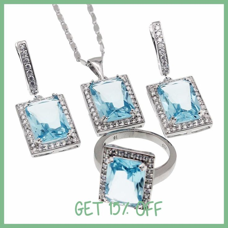 Hermosa Jewelry rectangle fashion sky blue Topaz925 Sterling Silver Necklace Earrings Ring size 8 set HSG0001A