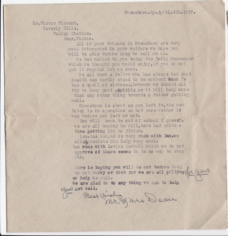 Unfortunately, Mr. Vincent passed away at the Waverly Hills Sanatorium from Pulmonary Tuberculosis just 19 days after this letter was written on April 23, 1927. n 1927 recoveries were slim. This was still early in the fight to defeat TB. The saddest thing is it mostly attacked young adults and robbed them of their future. Poor Victor was only 25 years old when it took him.