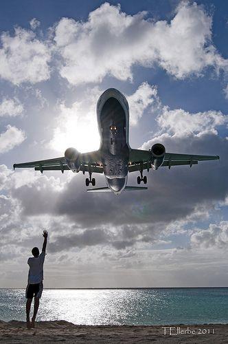 Maho Beach, St. Maarten-another view of a plane landing in St. Marteen