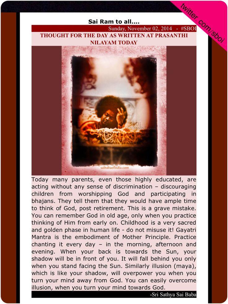 THOUGHT FOR THE DAY AS WRITTEN AT PRASANTHI NILAYAM TODAY| Sathya Sai Baba thought | Puttaparthi thought