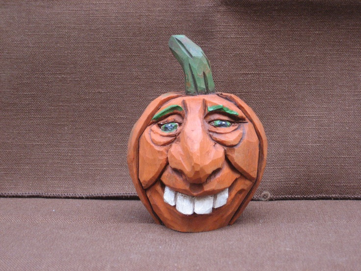 Hand carved halloween pumpkin jack o lantern via
