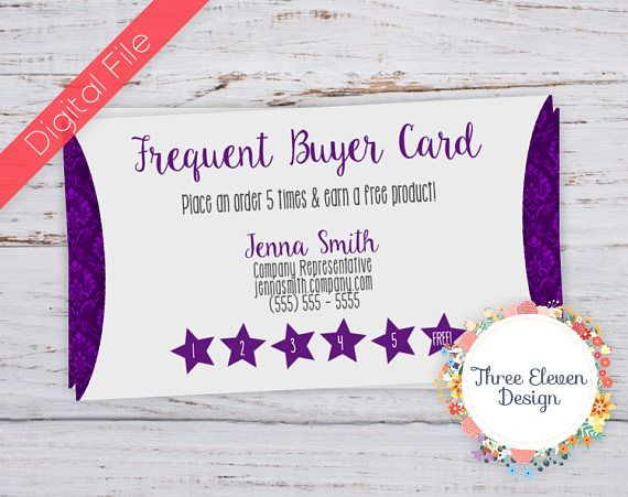 Purple Damask Printable Frequent Buyer Card