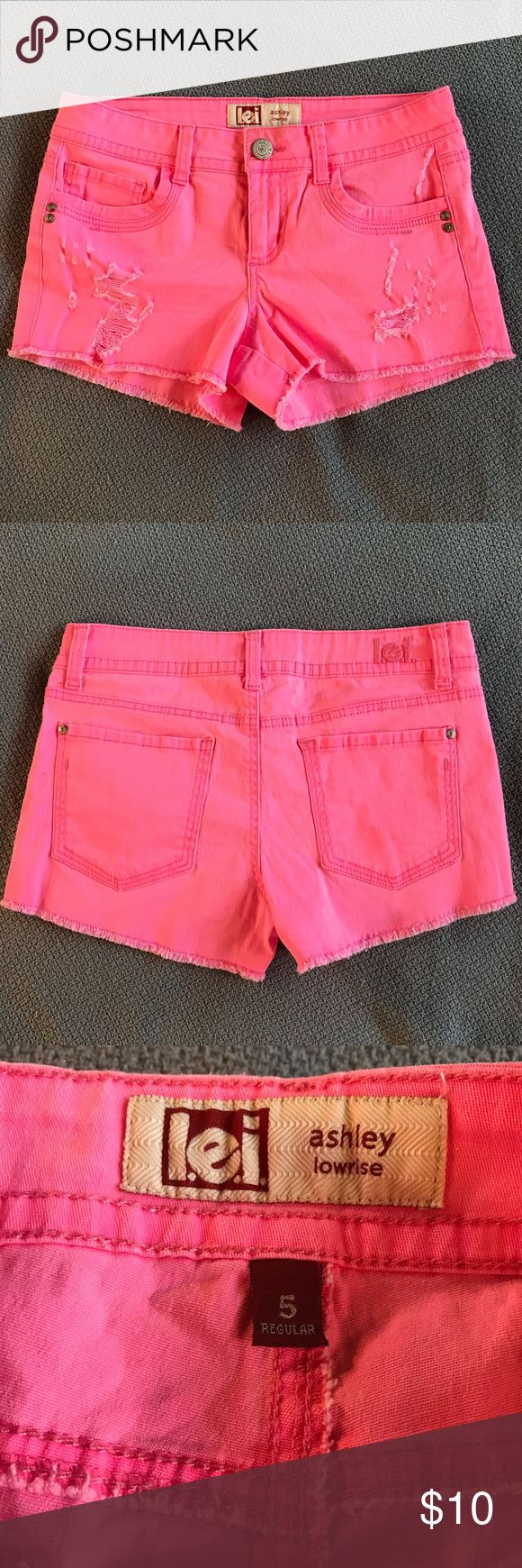 """Distressed Hot Pink Shorts Hot pink shorts in excellent lightly used condition. 2"""" inseam. lei Shorts"""