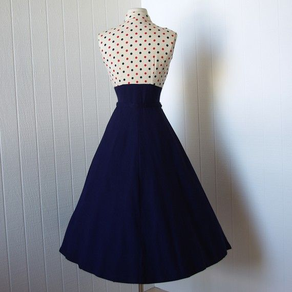 vintage 1940s dress  ...fabulous WWII navy blue full by traven7