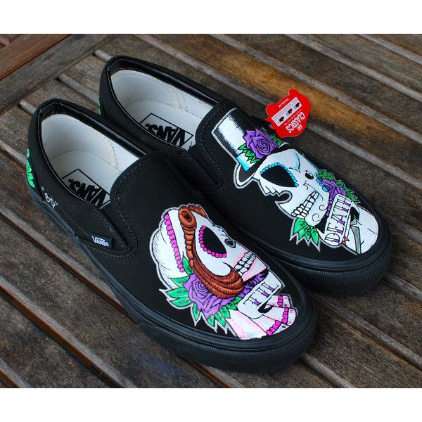 Til Death Custom Hand-Painted Vans ($240) ❤ liked on Polyvore featuring dark olive and shoes