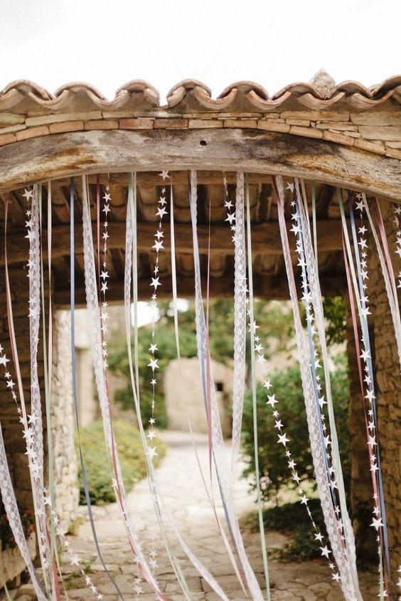 ribbon wedding garland wedding backdrop / http://www.himisspuff.com/ribbon-wedding-ideas/