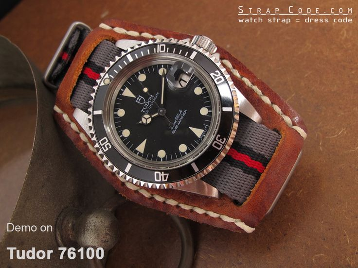 Tudor Submariner 76100 on MiLTAT 20mm G10 watch strap ballistic nylon school look armband - Grey, Black & Red, Brushed [20A20BZZ00N2P10]