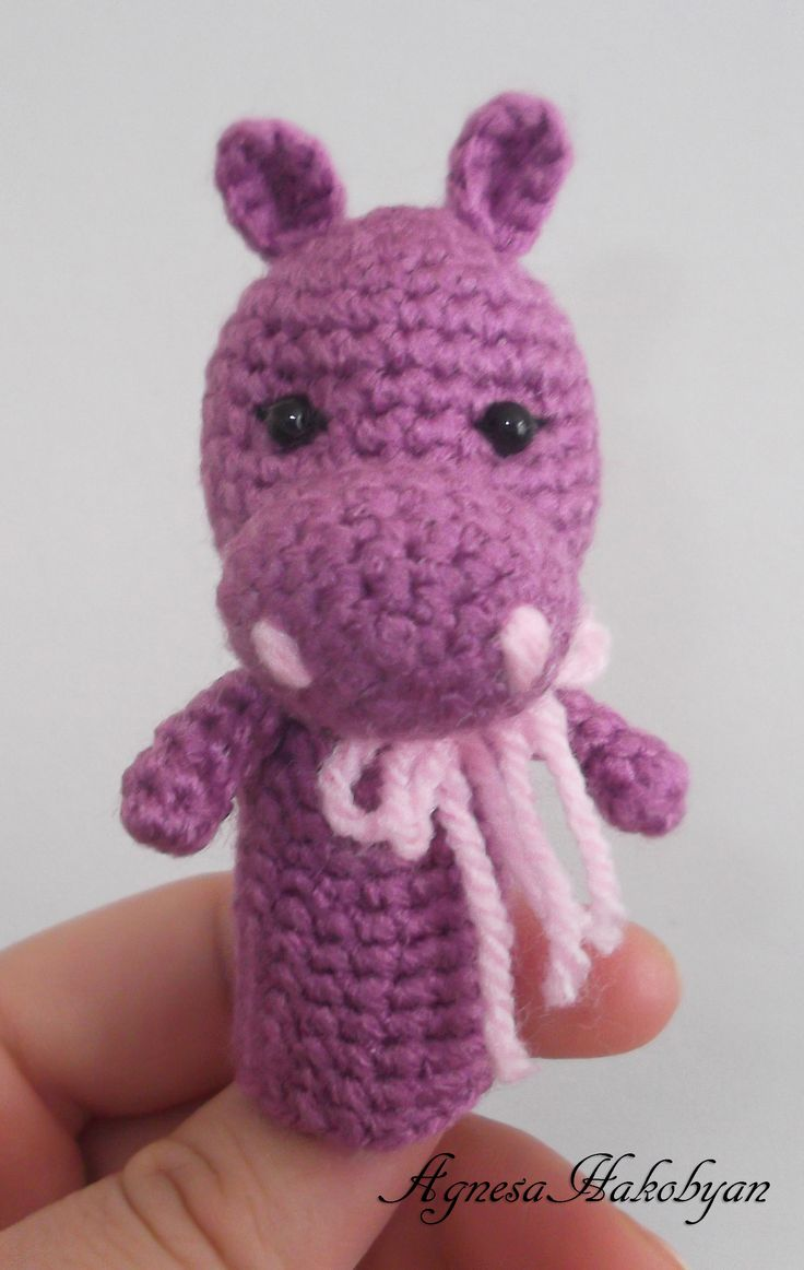 """Crochet finger puppet """"HIPPO"""""""