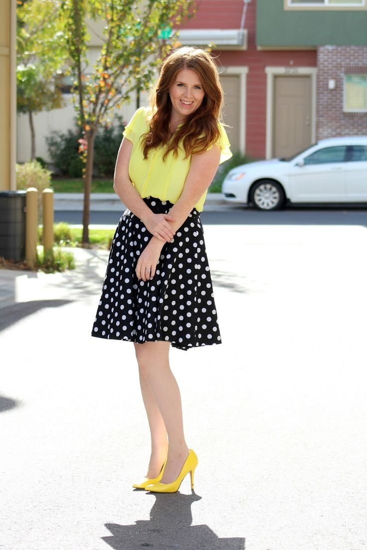 dotted skirt, polka dotted skirt, polka dotted midi skirt, polka dotted skirt outfit, yellow top, yellow top outfit, yellow blouse, yellow heels, yellow heels outfit, modest skirt outfit, modest summer outfit,