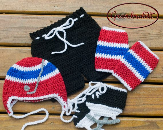 Crocheted BABY BOY HOCKEY Hat Pants Socks and by ...