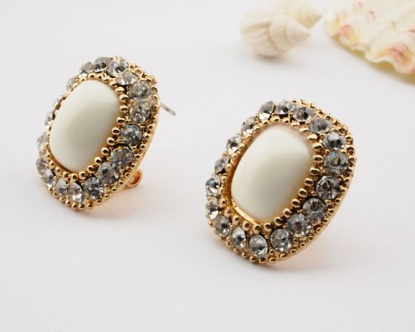 Chic Rhinestone Big Square Statement Leverback Stud Earrings wholesale