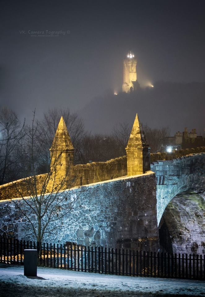 Stirling Bridge & The Wallace Monument as the snow falls in Scotland.