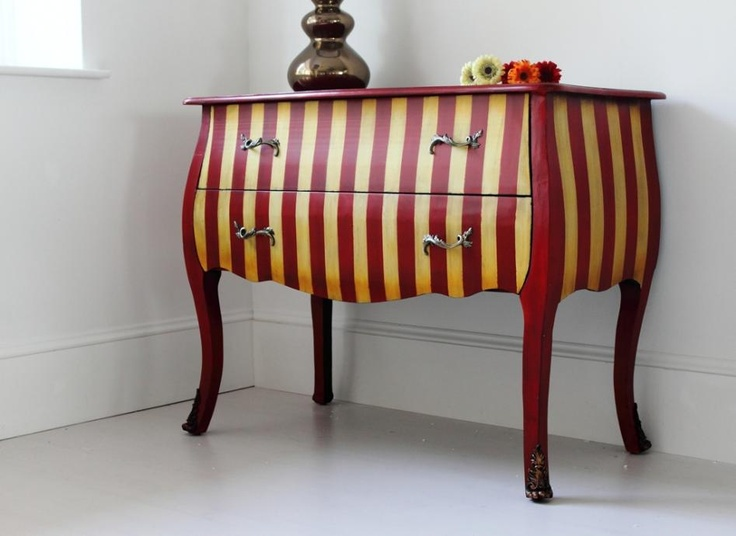 Striped Red French Chest - Out There Interiors