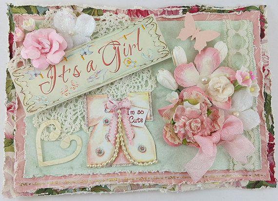 Handmade Shabby Chic 3D Pink Baby Girl Birth by SillySalCreates