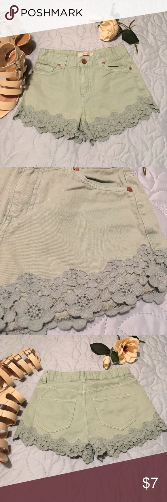 Mint Lace Hem Shorts Adorable light blue/green shorts with lace trim. Perfect condition. Top available in other post. Bundle and save! Shorts
