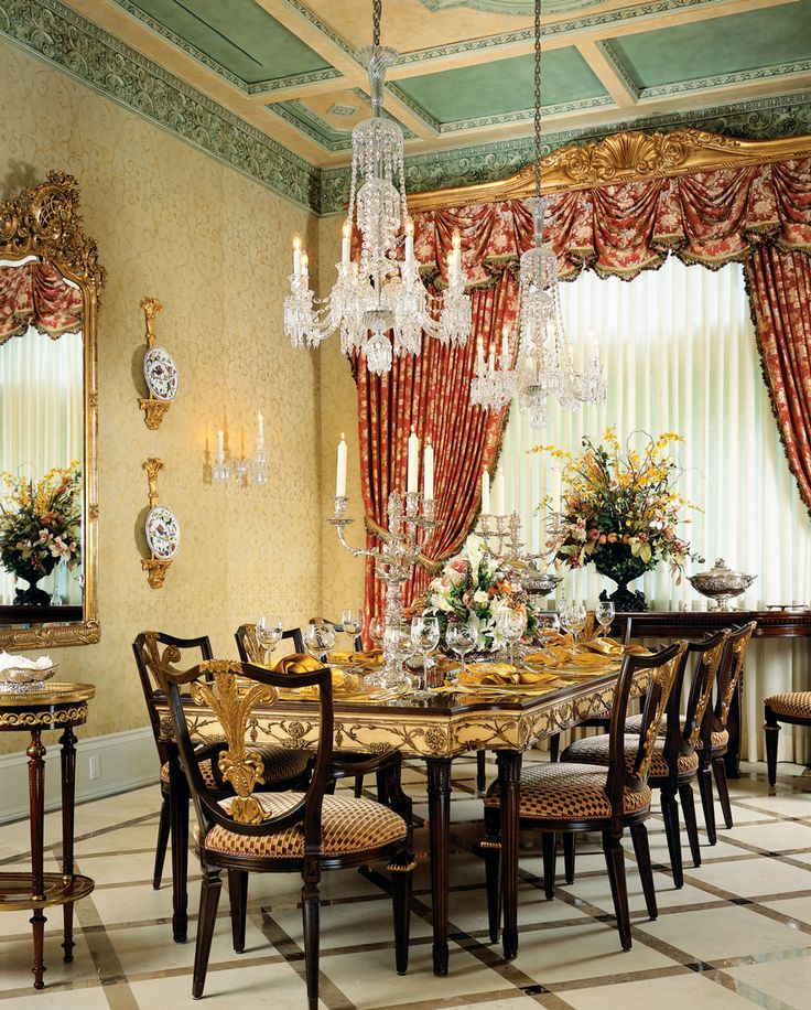 In This Dining Room A Gold Leaf Cornice With Shell Motif Crowns Silk