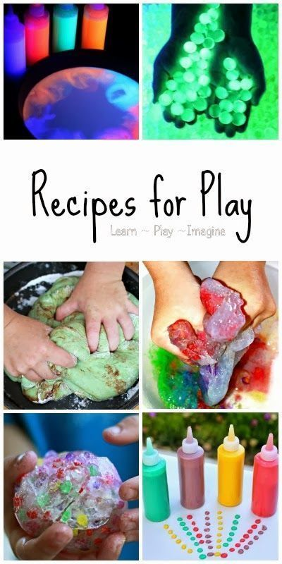 The ultimate list of recipes for play.  100  recipes for doughs, slimes, paint and sensory materials kids will LOVE!