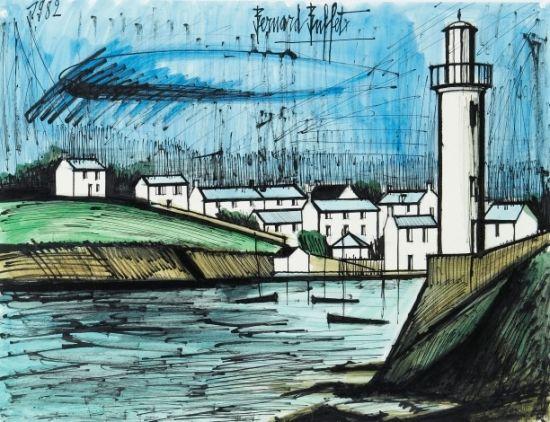 Bernard BUFFET (1928-1999) Port breton, 1982 Encre noire et aquarelle sur papier Sold 21 000€ #artauction