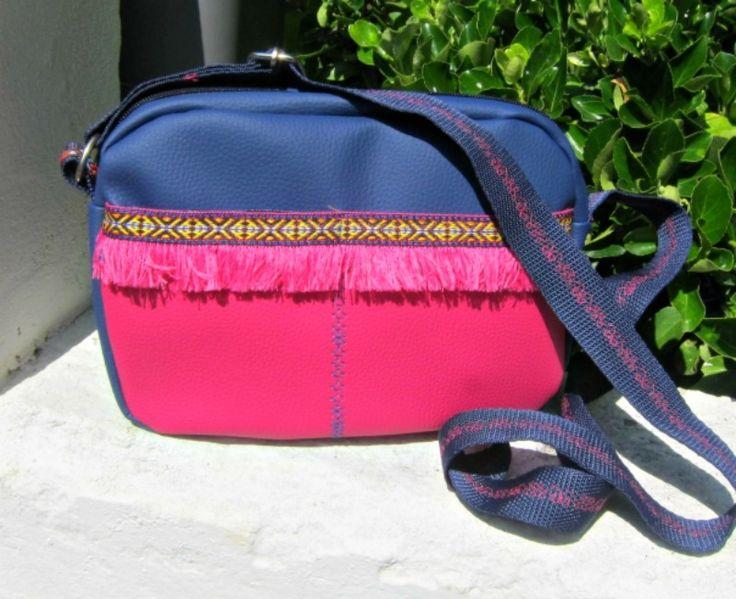 Bohemian boston bag-Μπλε-φούξια - RiRi Yfasma (RiRiYfasma.gr)