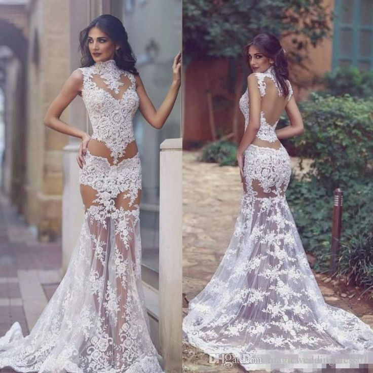 856d14d107453 Lace See Through Wedding Dresses Sexy High Neck Sleeveless Mermaid Bridal  Gowns Sheer Backless Sweep Train