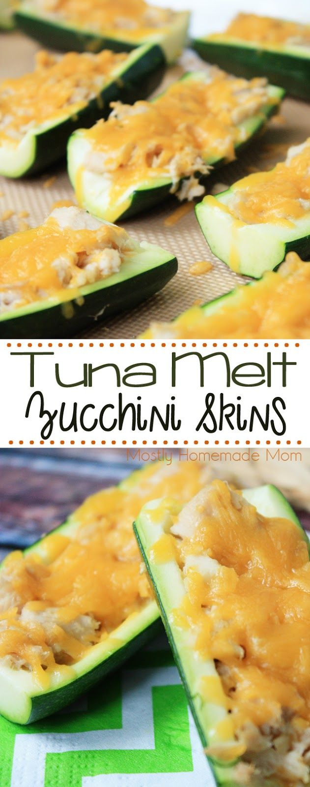 Tuna Melt Zucchini Skins - ready in under 15 minutes! Hollowed out zucchini slices stuffed with albacore tuna and melted cheddar cheese - these are perfect for lunch! @bumblebeefoods  OnlyAlbacore AD