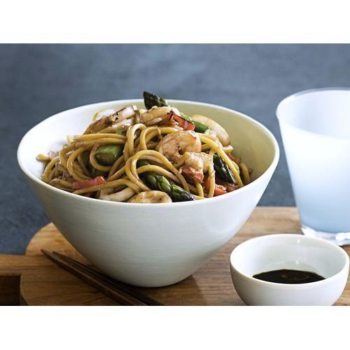 Prawn, calamari, asparagus and sesame stir-fry recipe.