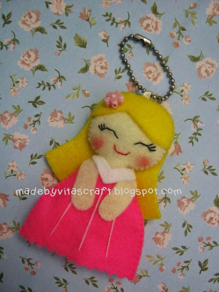 Aurora Disney Princess Felt Doll Keychain
