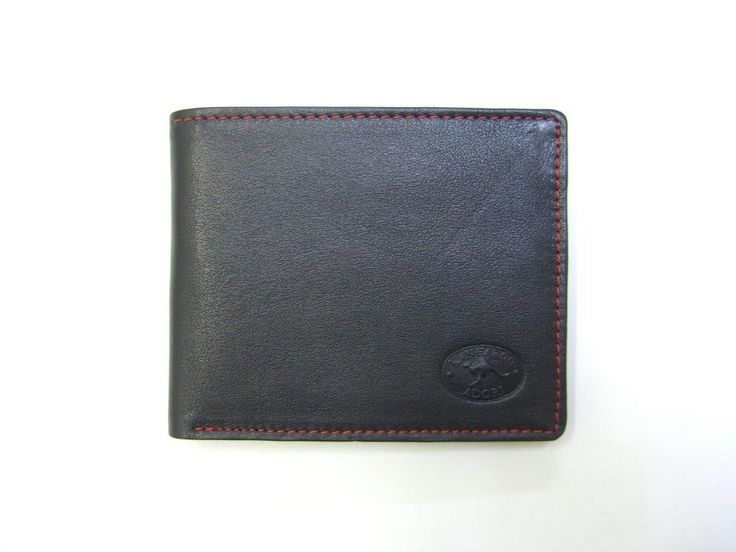 Australian kangaroo leather wallet in black with red contrast stitching.