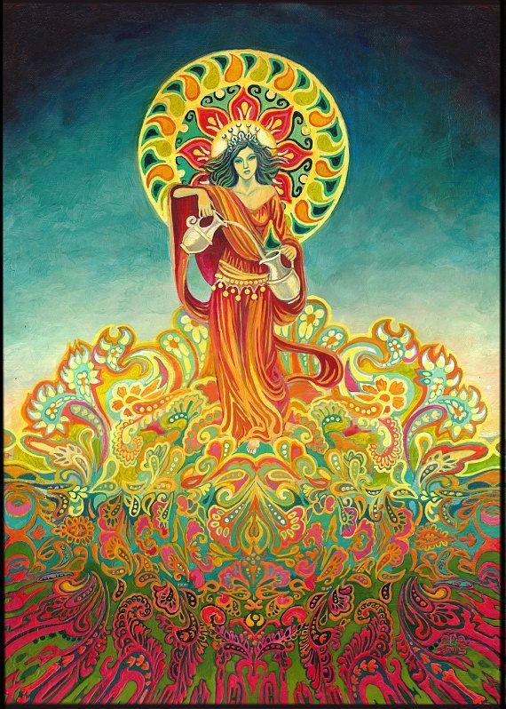 Matigheid godin van harmonie psychedelische Tarot Art ACEO ATC altaar kunst