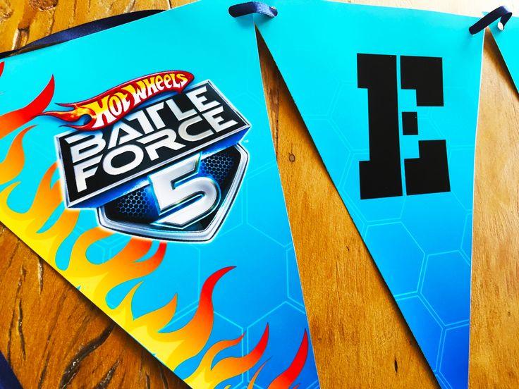 Bandeirolas festa Hot Wheels Batte Force 5 por Design Festeiro