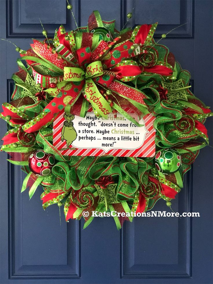 Grinch Christmas Wreath, Holiday Front Door Decor in 2020
