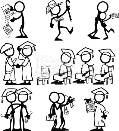 Stickfigures with qualifications, through hard work