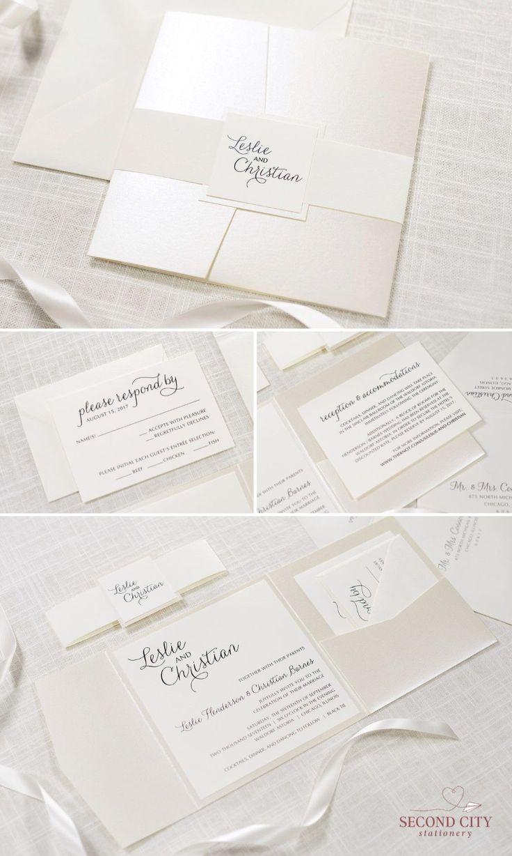 diy wedding invitations elegant%0A Elegant and Formal Cream   Ivory and Champagne   Opal Shimmer Square Pocket  Fold Wedding Invitation