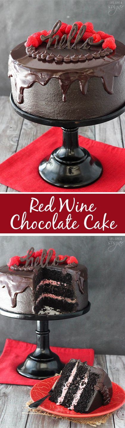 Red Wine Chocolate Cake - with red wine in the cake and chocolate ganache! The raspberry filling is the perfect compliment! Such a moist cake! LOVE!::