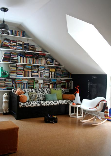 Cozy attic reading room.  Now I just need the attic, space, light, books, relaxing, read, neat, organized. I love this!!!