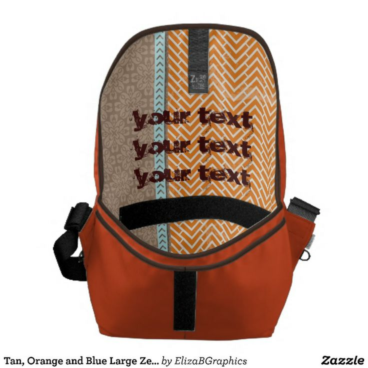 Customize the inside of your own large messenger bag.  Add a photo and or change the text to identify this as your bag.  #large+messenger+bag #messenger+bag #bag #tan #blu #blue #diaper+bag #laptop+bag #orange #laptop #messenger #diaper