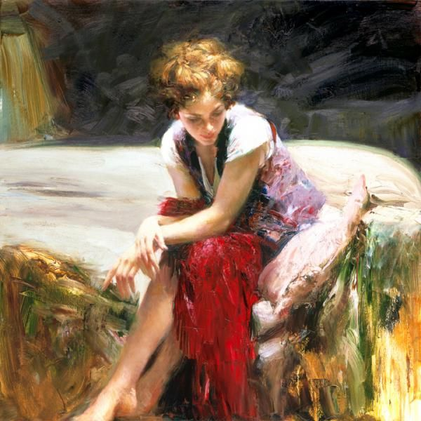 Pino Daeni(1939 – 2010) – Italian artist, his art and canvases elicit feelings of warmth, nostalgia, love and family. His paintings are often set on vibrantly sunny beaches on the Mediterranean where he grew up. Pinois noted for his exceptional ability to capture the movements and expressions of his subjects – a talent which has brought his artwork a worldwide following and private commissions to do portraits.