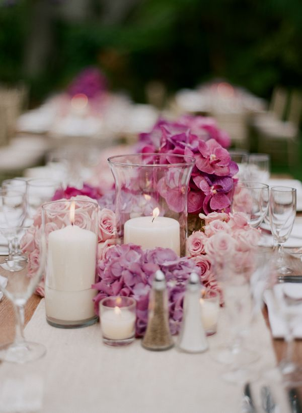 purple centerpiece ideas, purple cymbidiums, blush pink roses, purple hydrangea, outdoor wedding, candle centerpieeces, elizabeth messina, mindy weiss
