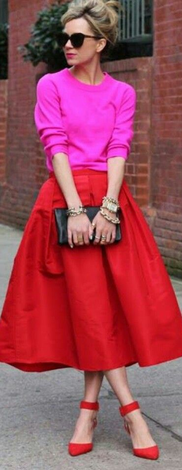 Street style - red and hot pink (=)