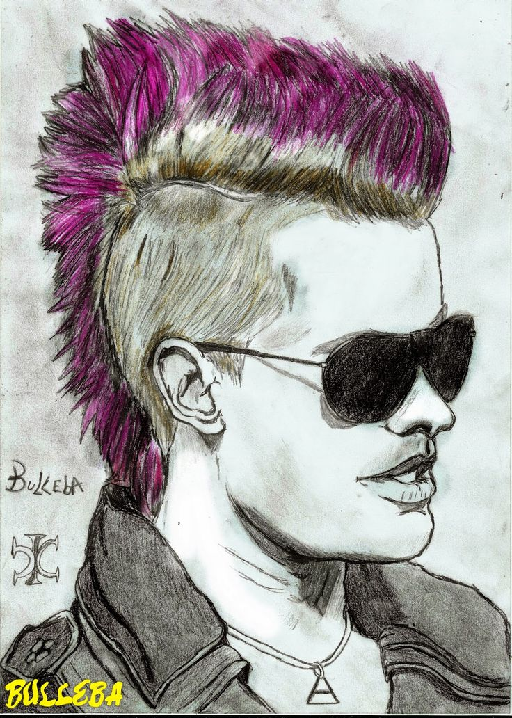 Drawing Jared Leto pink hair, pink mohawk