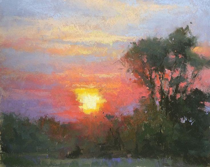 Scarlet Skies by Jacob Aguiar Pastel ~ 8 x 10