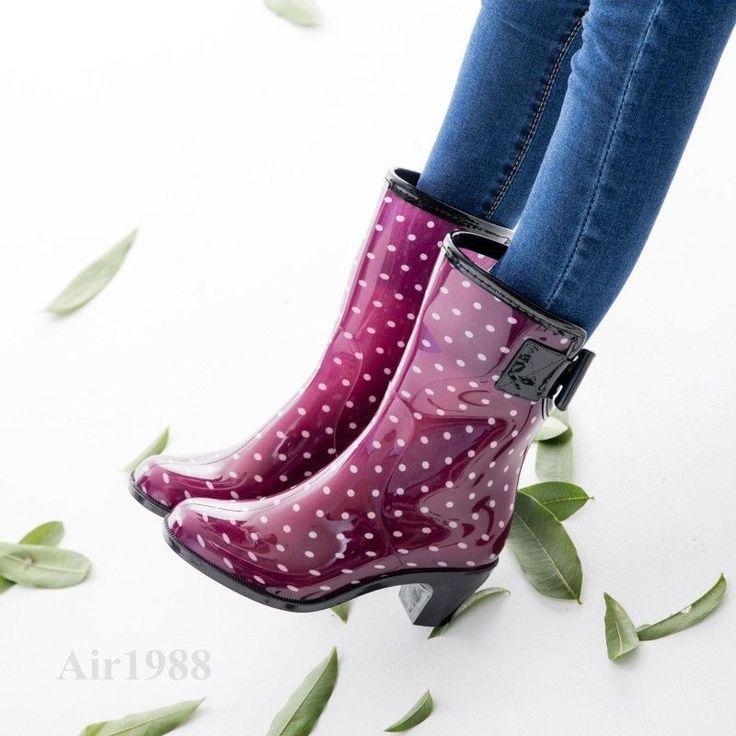 Fashion Women's Rain Boots Pvc Waterproof Block Heel Skidproof Water Shoes Boots